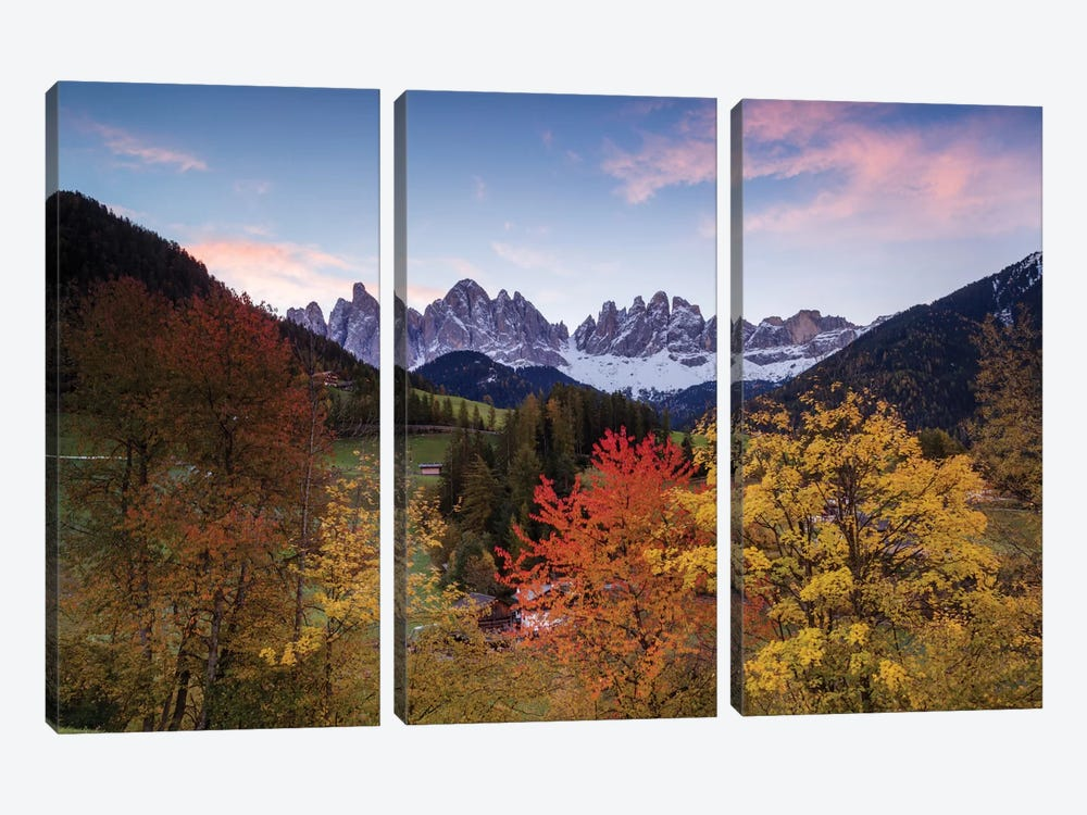 Autumn Landscape II, Odle/Geisler Group, Dolomites, Val di Funes, South Tyrol Province, Italy by Matteo Colombo 3-piece Canvas Wall Art
