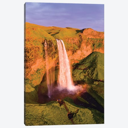 Seljalandsfoss Waterfall At Sunset, Iceland Canvas Print #TEO162} by Matteo Colombo Art Print