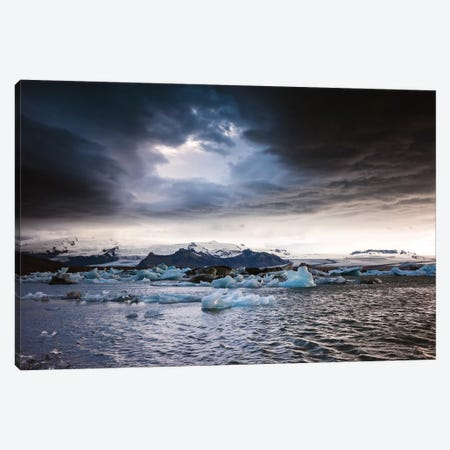 Stormy Weather Over Jokulsarlon, Iceland Canvas Print #TEO164} by Matteo Colombo Canvas Artwork