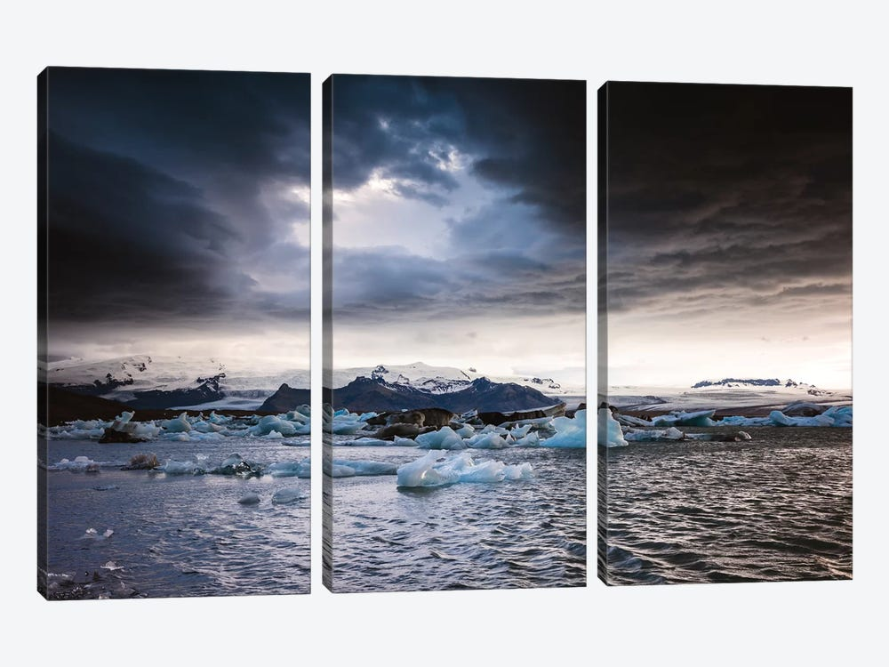 Stormy Weather Over Jokulsarlon, Iceland by Matteo Colombo 3-piece Canvas Art Print