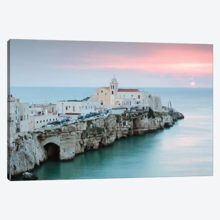 Sunrise Over Vieste Old Town, Apulia, Italy Canvas Print #TEO165} by Matteo Colombo Canvas Artwork