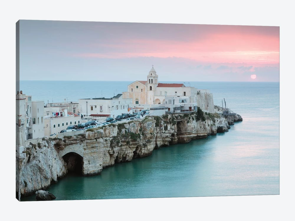 Sunrise Over Vieste Old Town, Apulia, Italy 1-piece Canvas Wall Art