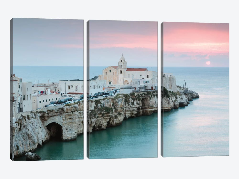Sunrise Over Vieste Old Town, Apulia, Italy 3-piece Canvas Artwork