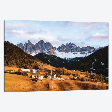 Sunset Over Village In The Dolomites Canvas Print #TEO168} by Matteo Colombo Canvas Art Print