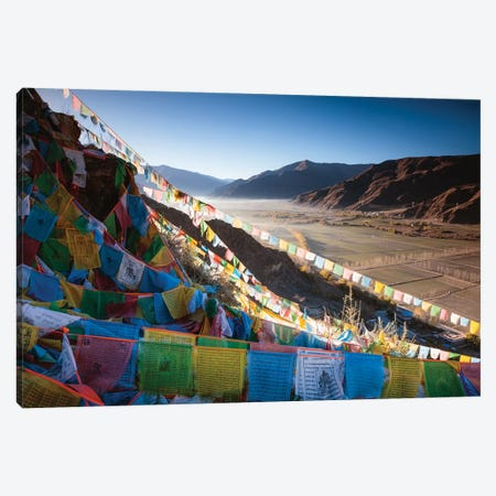 Tibetan Prayer Flags And Valley, Tibet Canvas Print #TEO172} by Matteo Colombo Canvas Wall Art