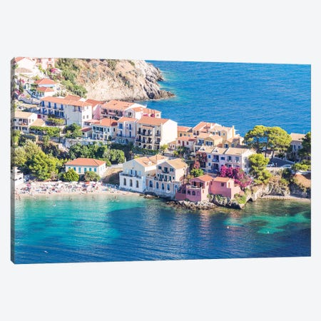 Town Of Assos In The Mediterranean Sea, Greece Canvas Print #TEO173} by Matteo Colombo Canvas Art