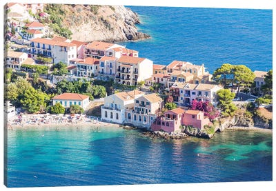 Town Of Assos In The Mediterranean Sea, Greece Canvas Art Print