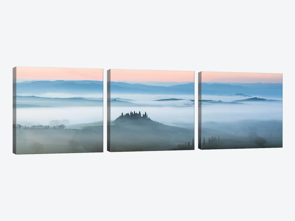 Val d'Orcia In The Mist, Tuscany, Italy by Matteo Colombo 3-piece Canvas Art