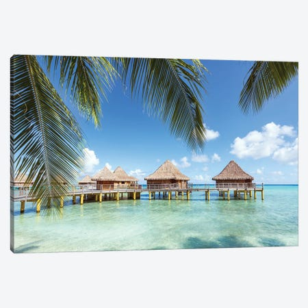 Water Bungalows In Rangiroa, French Polynesia Canvas Print #TEO177} by Matteo Colombo Canvas Print