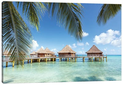Water Bungalows In Rangiroa, French Polynesia Canvas Art Print