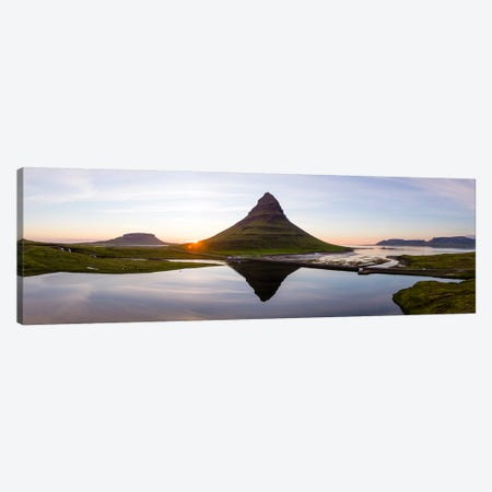 Aerial View Of Kirkjufell Mountain At Sunset, Iceland II Canvas Print #TEO179} by Matteo Colombo Canvas Art
