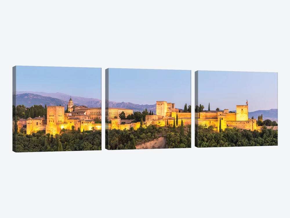 Alhambra Palace At Night, Granada 3-piece Canvas Art