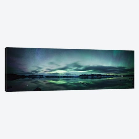 Aurora Borealis Panorama, Iceland Canvas Print #TEO186} by Matteo Colombo Canvas Wall Art