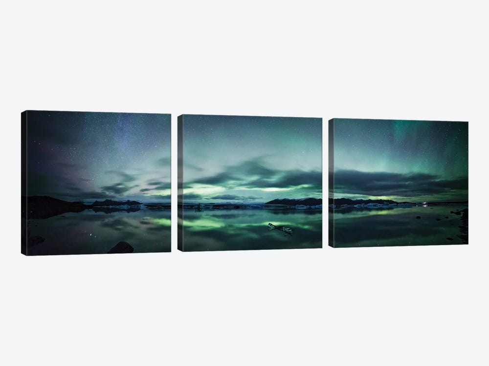 Aurora Borealis Panorama, Iceland by Matteo Colombo 3-piece Canvas Art Print