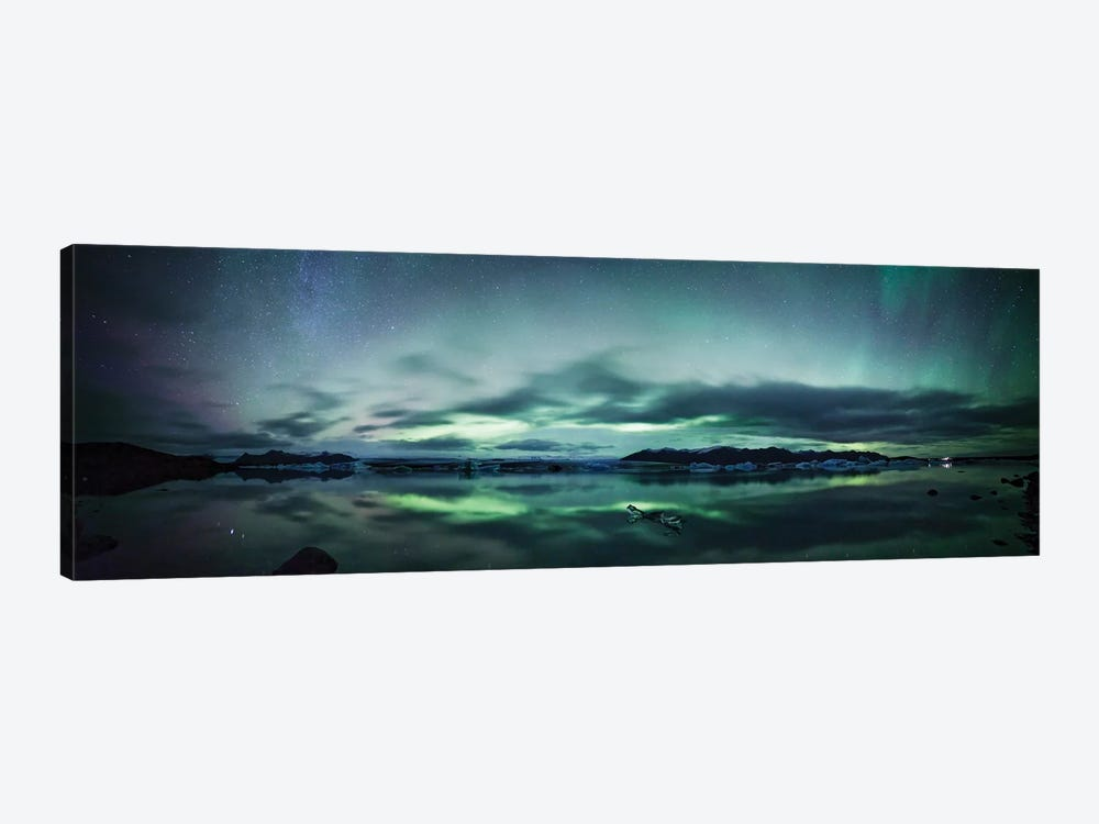 Aurora Borealis Panorama, Iceland by Matteo Colombo 1-piece Canvas Art Print
