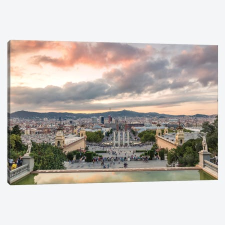 Barcelona At Sunset, Spain Canvas Print #TEO187} by Matteo Colombo Canvas Artwork