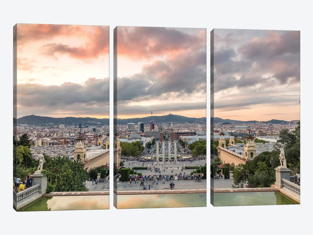 Barcelona At Sunset, Spain by Matteo Colombo 3-piece Canvas Wall Art