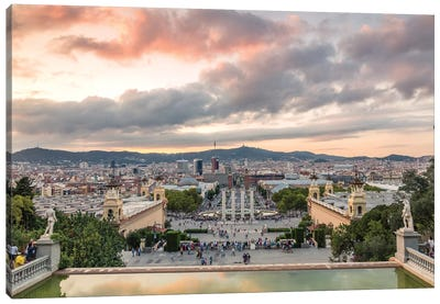 Barcelona At Sunset, Spain Canvas Art Print