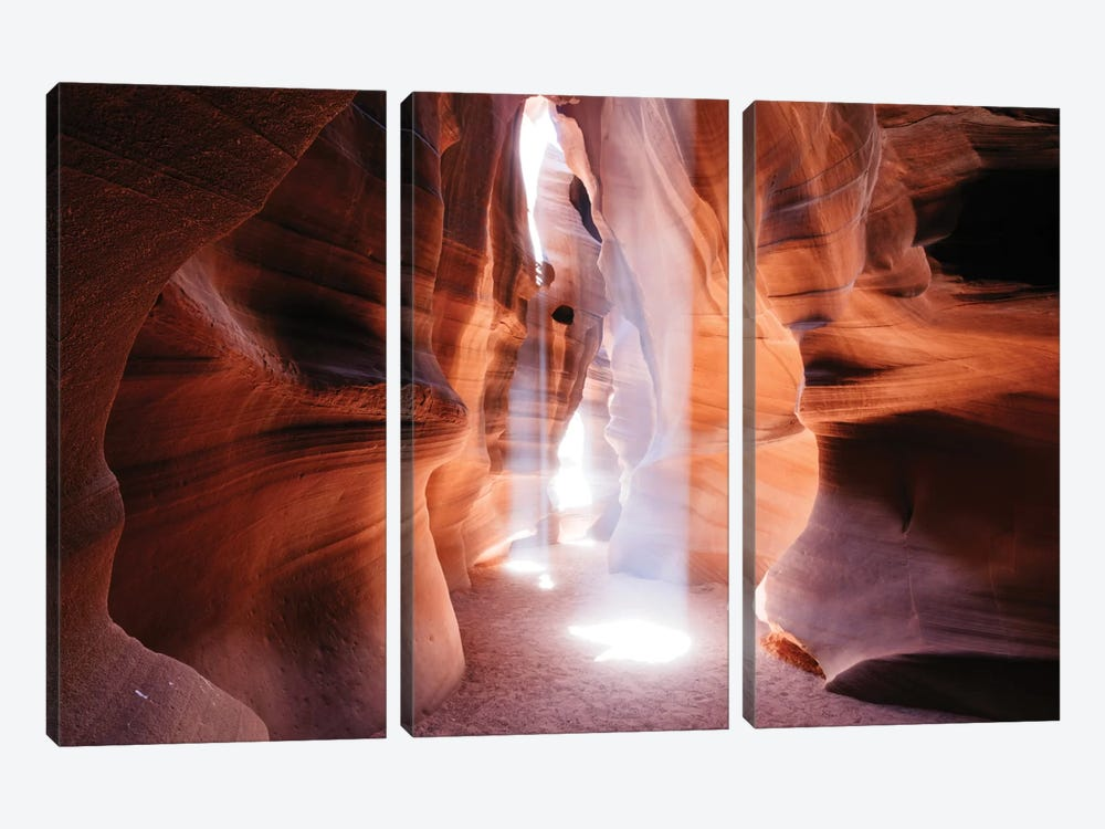 Beams Of Light (Dance Of Light), The Crack, Antelope Canyon, Navajo Nation, Arizona, USA by Matteo Colombo 3-piece Canvas Print