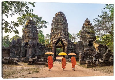 Buddhist Monks, Angkor Wat, Cambodia Canvas Art Print