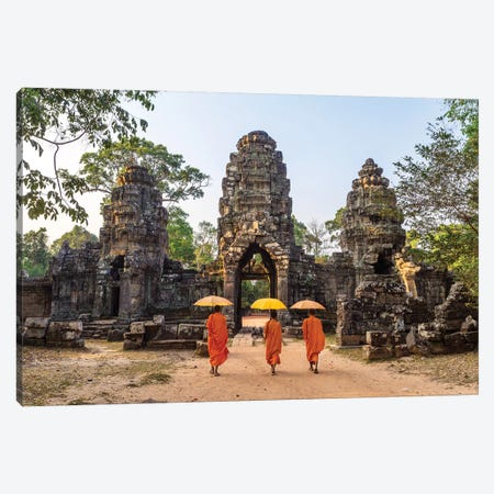 Buddhist Monks, Angkor Wat, Cambodia Canvas Print #TEO190} by Matteo Colombo Canvas Art