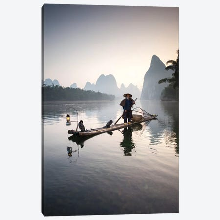 Cormorant Fisherman, Guilin, China Canvas Print #TEO195} by Matteo Colombo Art Print