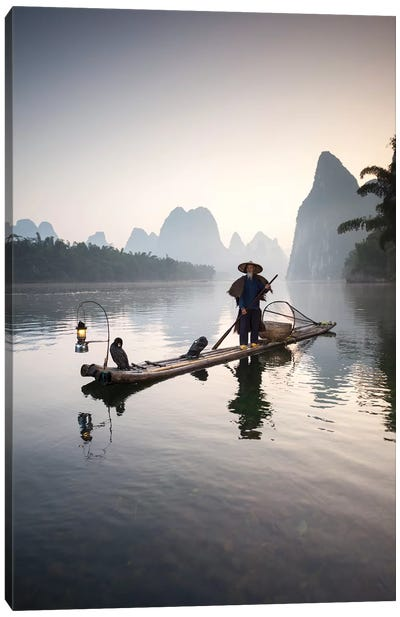 Cormorant Fisherman, Guilin, China Canvas Art Print