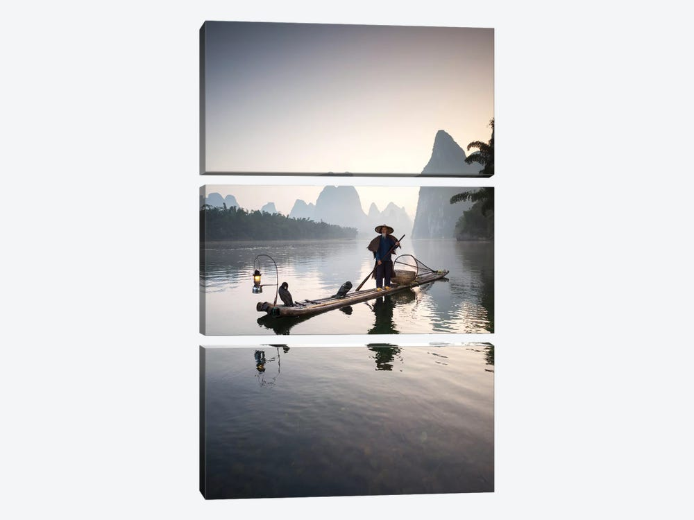 Cormorant Fisherman, Guilin, China 3-piece Art Print