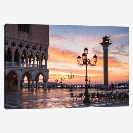 Dawn At St. Mark's Square, Venice Canvas Print #TEO196} by Matteo Colombo Canvas Art Print