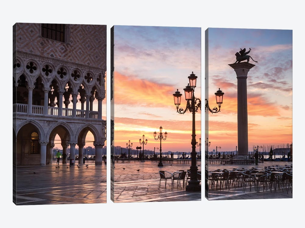 Dawn At St. Mark's Square, Venice by Matteo Colombo 3-piece Canvas Wall Art