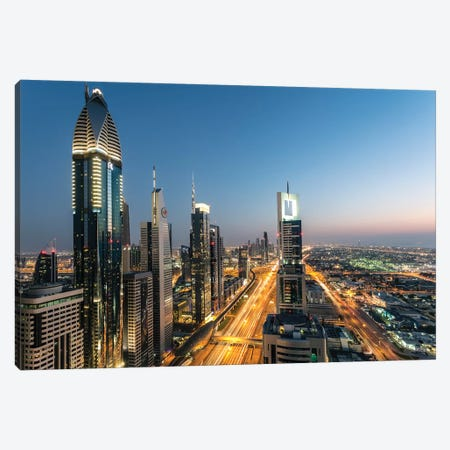 Dubai Skyline, United Arab Emirates Canvas Print #TEO199} by Matteo Colombo Canvas Wall Art