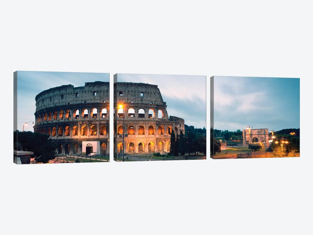 Dusk At The Colosseum by Matteo Colombo 3-piece Canvas Print