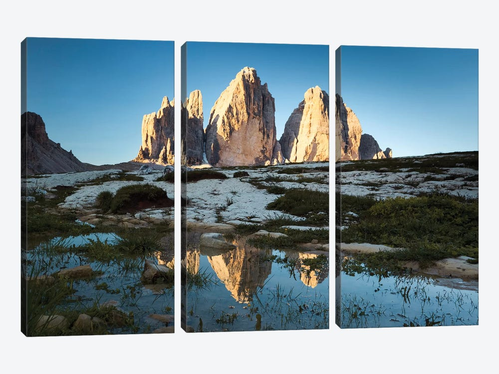 Famous Three Peaks In The Dolomites by Matteo Colombo 3-piece Canvas Art