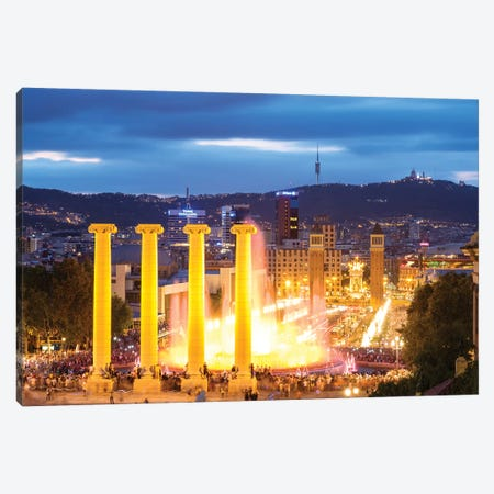 Font Magica At Night, Barcelona Canvas Print #TEO205} by Matteo Colombo Canvas Print