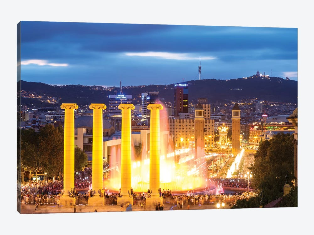 Font Magica At Night, Barcelona 1-piece Canvas Wall Art