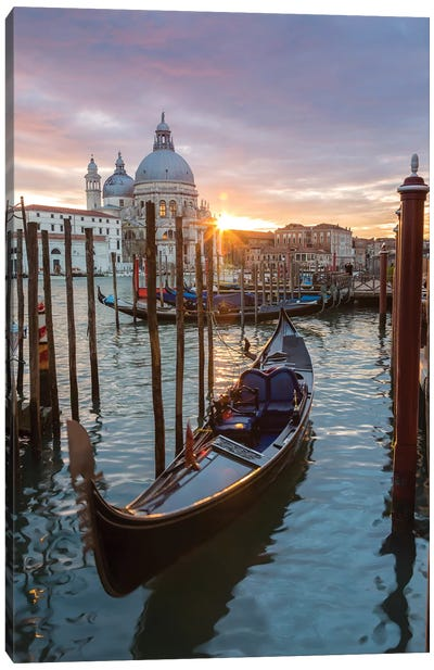 Gondola At Sunset, Venice Canvas Art Print