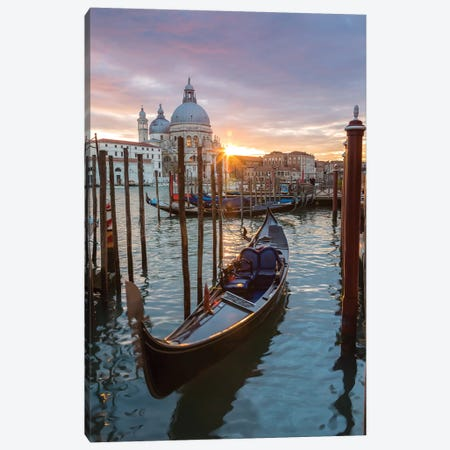 Gondola At Sunset, Venice Canvas Print #TEO209} by Matteo Colombo Canvas Art