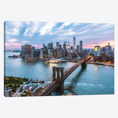 Brooklyn Bridge And Lower Manhattan Skyline, New York City, New York, USA Canvas Print #TEO20} by Matteo Colombo Canvas Wall Art