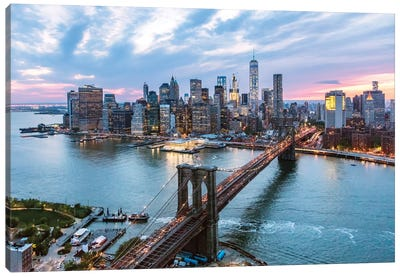 Brooklyn Bridge And Lower Manhattan Skyline, New York City, New York, USA Canvas Print #TEO20
