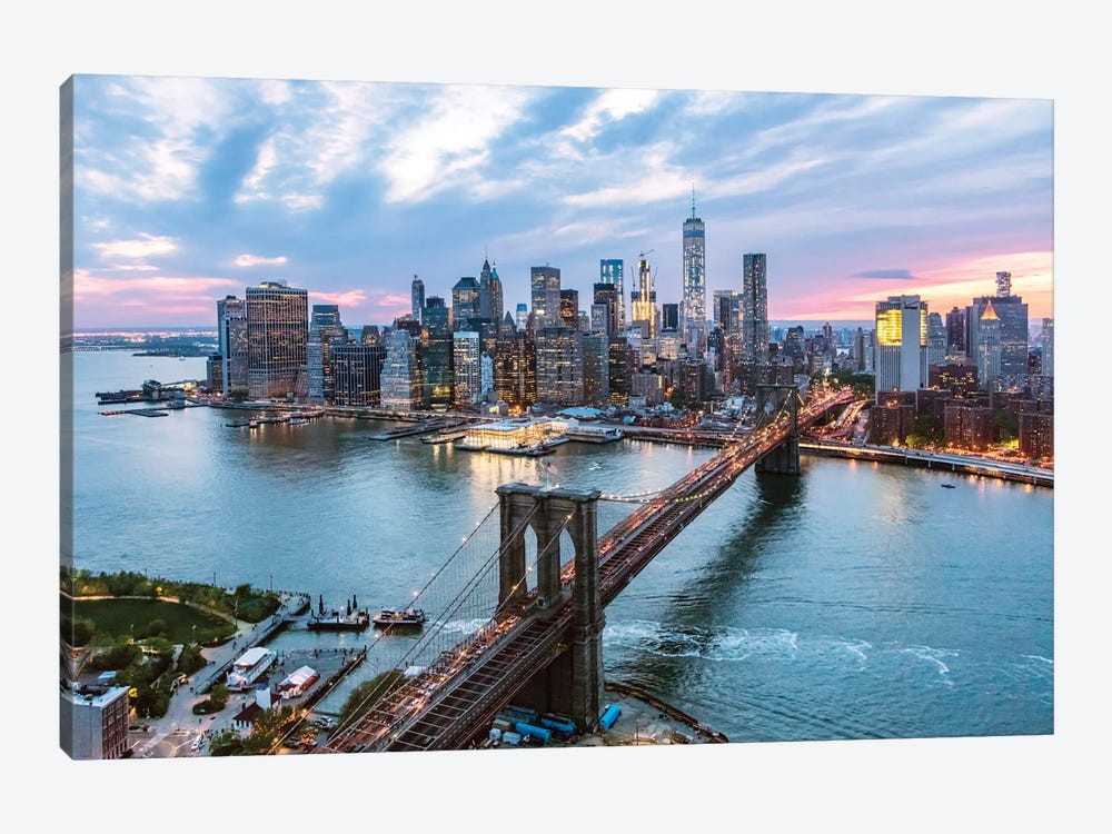 Brooklyn Bridge And Lower Manhattan Skyline, New York City, New York, USA by Matteo Colombo 1-piece Canvas Artwork