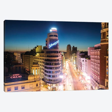 Gran Via At Night, Madrid, Spain Canvas Print #TEO211} by Matteo Colombo Canvas Art Print