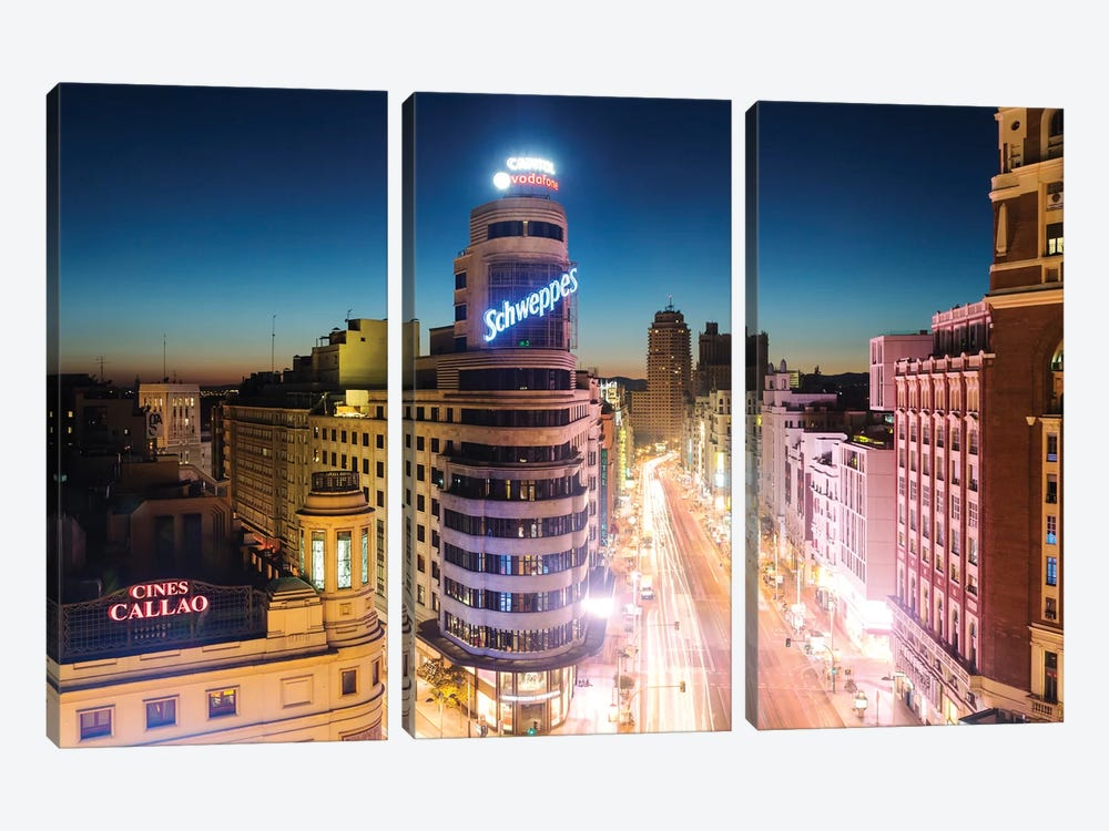 Gran Via At Night, Madrid, Spain by Matteo Colombo 3-piece Canvas Print