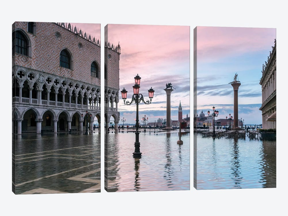High Tide In Venice by Matteo Colombo 3-piece Canvas Artwork