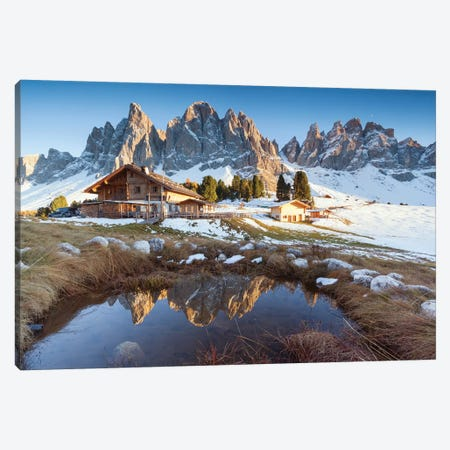 Hut And Alpine Lake Canvas Print #TEO213} by Matteo Colombo Canvas Art Print