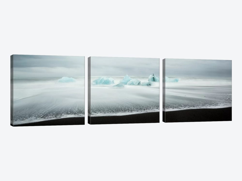 Icebergs On Black Beach I by Matteo Colombo 3-piece Canvas Wall Art