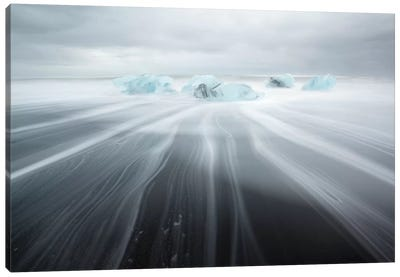 Icebergs On Black Beach II Canvas Art Print
