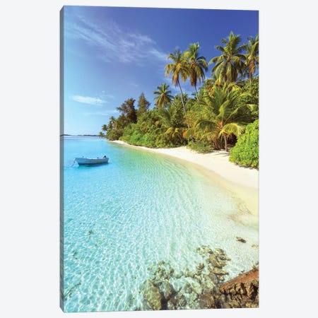 Idyllic Beach, Maldives Canvas Print #TEO216} by Matteo Colombo Canvas Art