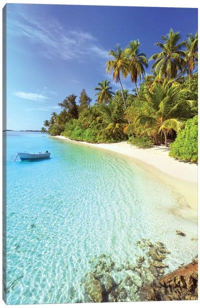 Idyllic Beach, Maldives Canvas Art Print