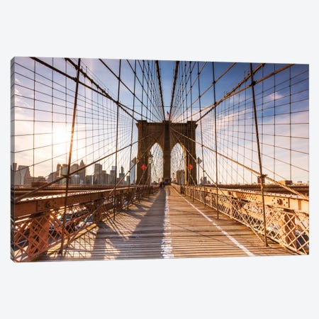 Brooklyn Bridge At Sunset, New York City, New York, USA Canvas Print #TEO21} by Matteo Colombo Canvas Art