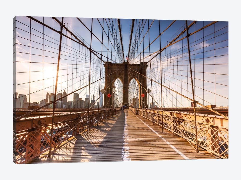 Brooklyn Bridge At Sunset, New York City, New York, USA by Matteo Colombo 1-piece Canvas Art Print